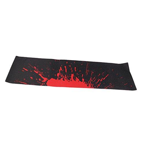 MagiDeal Wasserdicht PVC Skateboard-Aufkleber rutschfest Griptape für Skateboard oder Longboard, 84 x 23 cm - Schwarz und Rot
