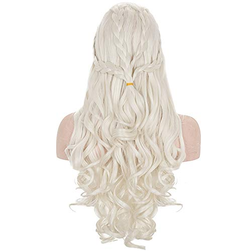 Morvally Daenerys Targaryen Cosplay Wig for Game of Thrones Season 7 Khaleesi Long Curly Wavy Braids Hair Wigs for Womens Costume Halloween Party(Light Blonde)