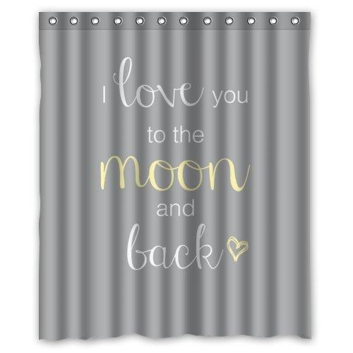 CHATAE Generic Wasserdicht Duschvorhang mit lustigem Spruch und Zitate: I Love You to The Moon and Back Design 152,4x 182,9cm