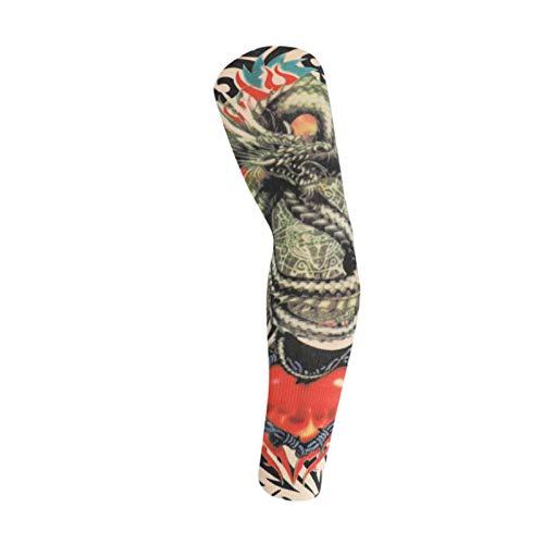 Mangas de brazos para hombres de manga de tatuaje Seda de hielo Seda de verano Montar con protección solar Manga de manga para hombre Cubierta de brazo Hombres Rady Dry Mujeres Elástico Correr Transpi