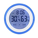 XGBDTJ Reloj Termómetro 2In1 Pantalla Táctil Digital Termómetro E Higrómetro Con Temporizador Vida de Moda Cuenta Regresiva Reloj Despertador Diseño Vintage Antiguo Estilo Rústico Moderno De Sala De E