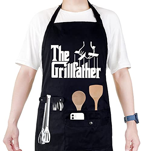 Funny Cooking Chef Apron with Pockets BBQ Kitchen Work Aprons Birthday Dad Creative Gifts