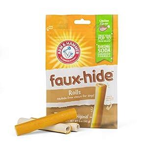 Arm & Hammer Faux-Hide Dog Dental Treat Rolls, 7 pcs | 5 oz Bag Rawhide Free Dog Dental Chews in Chicken Flavor | Baking Soda Enhanced Formula Dental Treats for Dogs for Fresh Breath