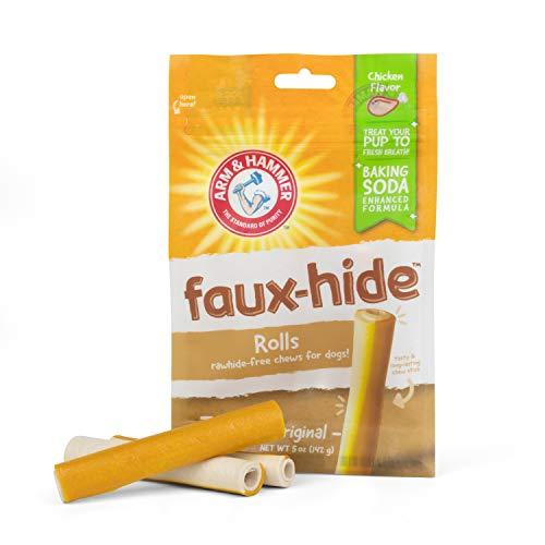 Arm & Hammer Faux-Hide Dog Dental Treat Rolls, 7 pcs | 5oz Bag Rawhide Free Dog Dental Chews in Chicken Flavor | Baking Soda Enhanced Formula Dental Treats for Dogs for Fresh Breath