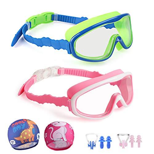 Kungber Kinderzwembril voor kinderen, duikbril zwemmen met anti-condens, UV-bescherming, zachte siliconen lekbril met badmuts, neusklemmen, oordopjes, leeftijdsgroep 3-15