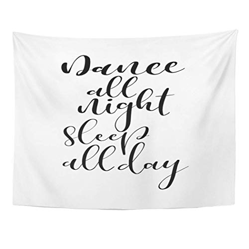 Elinna Decor Wall Tapestry Alphabet Word Brush Pen Lettering Phrase Dance All Night Sleep Day Artistic Black 60 X 50 Inches Wall Hanging Picnic for Bedroom Living Room Dorm 80x60in(150x200in)
