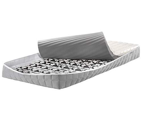 Lattoflex Colchón somier 200 muelles integrados 100 x 200 cm – Colchón reversible Soft H1 y extra firme H4 – Zona de los hombros – Superficie de descanso lavable y funda con cremallera