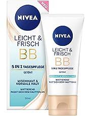 NIVEA Licht & Frisch BB 5-in-1 dagverzorging 24 uur vocht (50 ml), BB Cream voor gemengde huid en normale huid, getinte dagcrème met natuurlijk magnolia-extract.