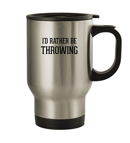 I'd Rather Be THROWING - 14oz Stainless Steel Travel Mug, Silver