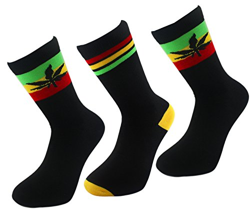 RASTA COTTON CREW SOCKS GANJA WEED COMFORT - Stripe/Leaf/Leaf (3 pack)
