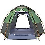 Hewolf Grande Tente Dôme 3 à 4 Personnes Tente de Camping Pop-up Tente Familiale à Ouverture Automatique Tente Hexagonale Tente Imperméable et Anti-UV Tente pour Camping Pêche - Vert Armée