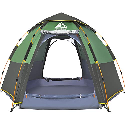 HEWOLF Camping Tent 3 to 4 Person Pop Up Tent Automatic Hydraulic Dome Tents Waterproof UV Protection Tent Large Hexagonal Double Layer Family Tent for Outdoor Hiking Festival Tents - Army Green