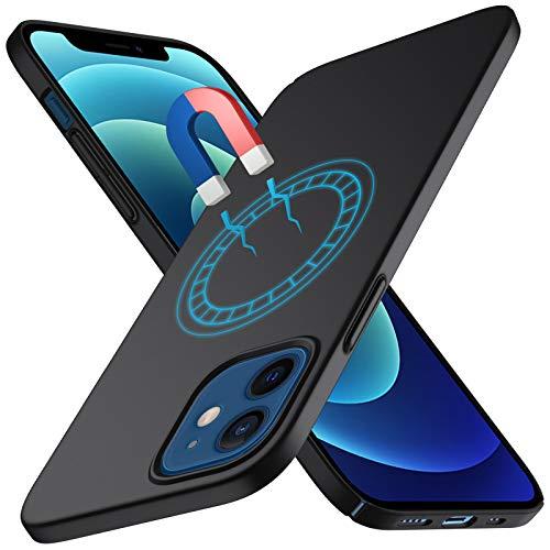 TOPACE - Custodia compatibile con iPhone 12, ultra sottile, leggera, opaca, facile da antiurto, antigraffio, compatibile con iPhone 12 Pro (nero)