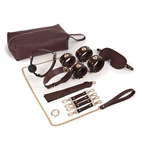 CSHClock Bolsa de Almacenamiento incluida 7 unids Bucles Ajustables Cuero de Cuero Cuello Handcuf'FS Parejas Entrenamiento Props T-Shirt Lovers Fun Sunglasses (Color : Brown)