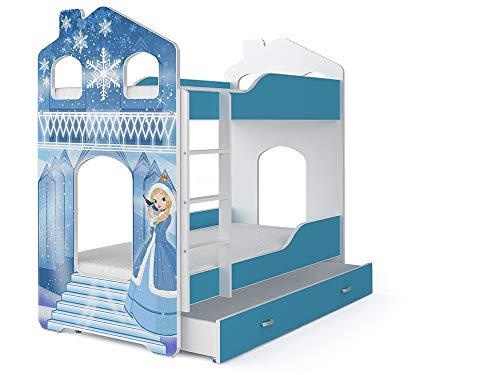 FurnitureByJDM - Stapelbed voor kinderen met matrassen en opberglade - DOMINIC - (Pattern 2 - Frozen, Dominic - House)