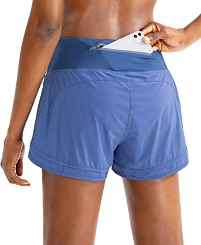 Women's Running Shorts with Zipper Pocket 3 Inch Quick-Dry Workout Athletic Gym Shorts for Women Blue