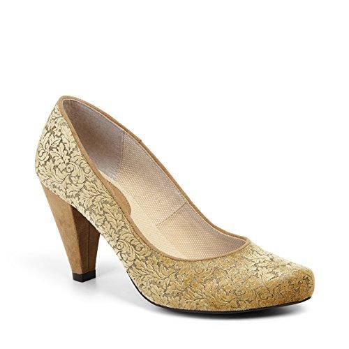 Ruby Shoo Leah Court Zapatos de tacón y Protector de Suela Belle Divino, Color Dorado, Talla 42 EU