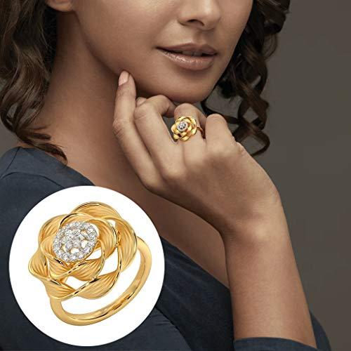 Janly - Anillo de metal para mujer, con diamantes completos y circonitas microincrustadas, ideal como regalo para el día de San Valentín, color, talla L