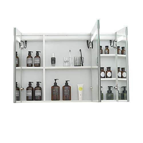 JOMSK Armadio di Stoccaggio Medicina de Aluminio del gabinete con Espejo, Encendido LED botiquín del baño, Triple Puerta Tri-Vista Gabinete (Color : Silver, Size : 100x70x14cm)