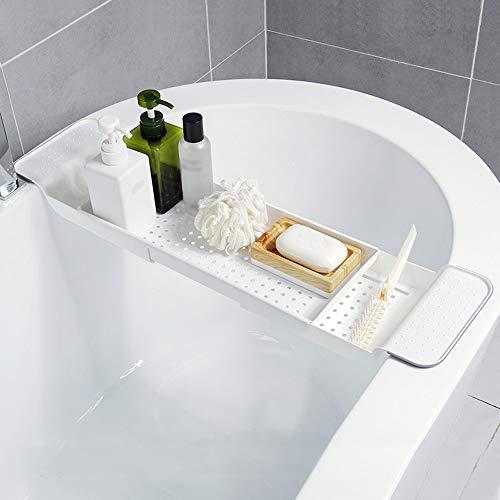 Wowlela Bandeja extensible para mesa de bañera, soporte para bañera, soporte para bañera, organizador de ducha, bandejas con lados extensibles para libro, vino, teléfono, baño, ducha