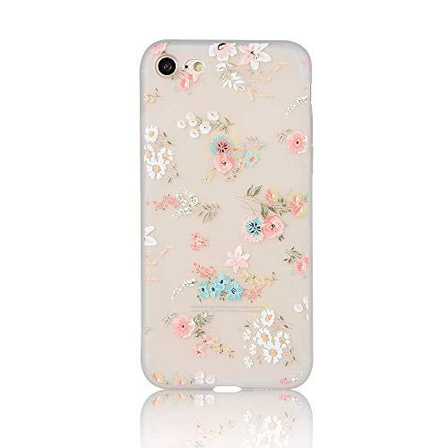 Pepmune Hülle Kompatibel mit iPhone 7/8/SE2020 Hülle Blume Muster Handyhülle Matte TPU Bumper mit 3D Floral und Mädchen Frau Weich Silikon Schutzhülle Case für iPhone 7/8/SE2020, Style 2