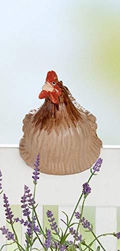 Rostalgie Keramik Topf/Zaunfigur zur Auswahl Hahn Huhn Gartendekoration Zaunhocker - 1 STÜCK (Keramik, Huhn dunkel)