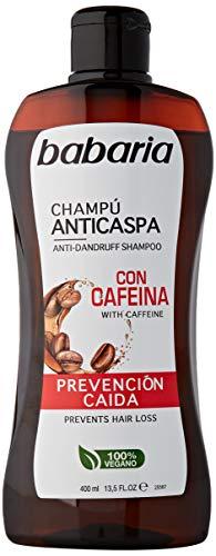 BABARIA Unisex CAFEINA CHAMPU CASPA PREVENCION CAIDA Caffeine Shampoo Anti-Dandruff PRÄVENTION Fall 400ML, Negro, Nur