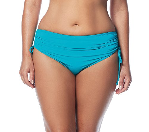 BEACH HOUSE WOMAN Women's Plus-Size Hayden High Waisted Bikini Swimsuit Bottom with Adjustable Side Ties, Paloma Beach Pool, 18W