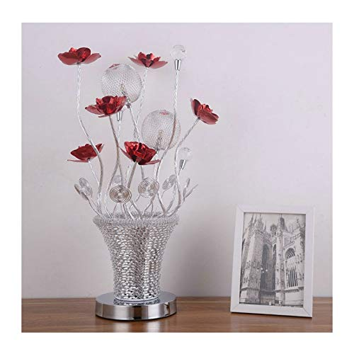Lampara Mesilla Flores rojas de lujo con decoración de bola de cristal Plata Florero redondo de metal LED lámpara de mesa lámpara de noche lámpara de noche dormitorio dormitorio decorativo lámpara de