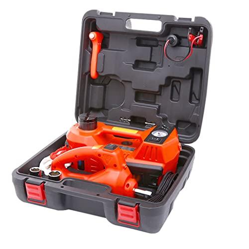 SHENRQIA Kit de Herramientas de Reparación de Coche Eléctrico de Gato para Automóvil 12 V DC 5T con Llave de Impacto Eléctrica y Abrazadera de Batería,Rango de Elevación: 15-45 cm