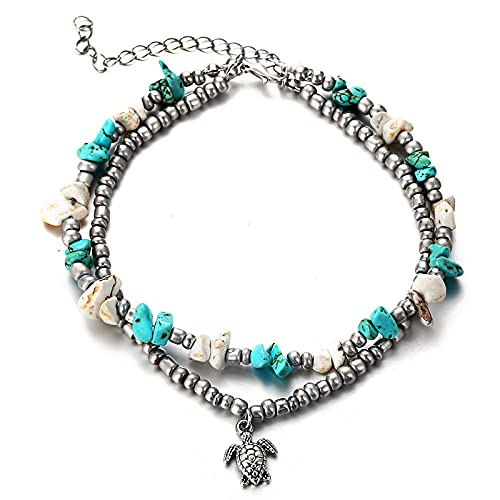 Women Fashion Double Layer Bohemian Pendant Anklet Bracelet Beach Turtle Shell Starfish Beach Foot Anklet Accessories