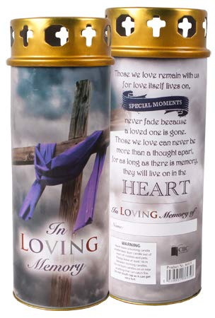 Cross My Heart In Loving Memory Pillar Candle 17cm High 68 Hours Burn Time Windproof Cap