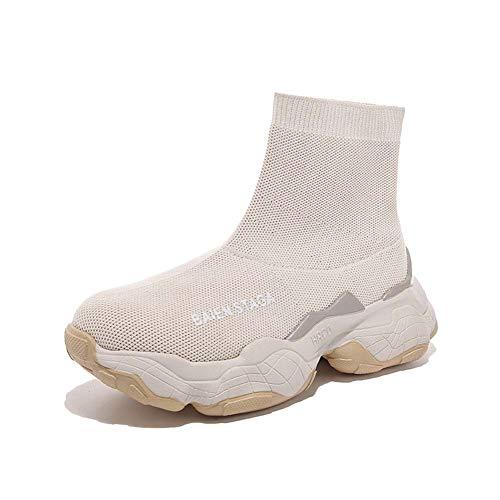 SHOES-HY Damenmode Turnschuhe Wanderschuhe, ultraleichte, atmungsaktive, sportliche Laufschuhe, Freizeitschuhe mit Socken,Beige,37