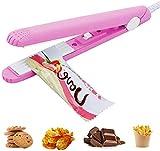 Mini Sealing Machine Portable Food Sealer Heat, Bag Sealer Heat Seal Cable for Small Plastic Bags (Pink)
