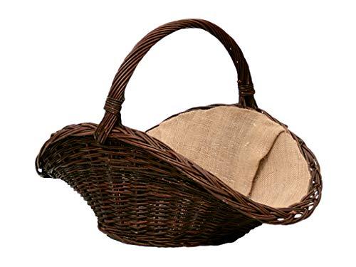 Korb für Holz aus Naturweide, Korb für Kamin mit Jute genäht, Naturweide (L) 65 x (B) 40 x (H) 25/45 cm