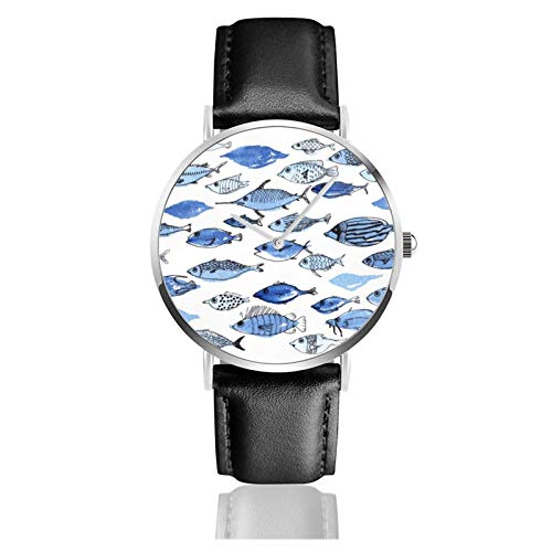 Quarz-Armbanduhr, Aquarium, blaue Fische, wasserdicht, PU-Leder-Armband, klassisch, lässig, Edelstahl, Quarzuhr