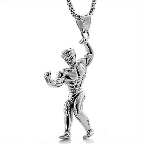 LKYH Mode Persönlichkeit Fitness Modell Muskel Anhänger Retro Männer und Frauen Edelstahl Anhänger Titan Stahl Halskette