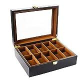 Bearhouse Caja para Relojes Madera Estuches Relojes con 10 Compartimentos Hombre Negro