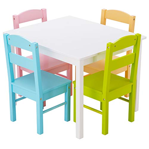 COSTWAY 5 TLG. Kindersitzgruppe, Kindertischgruppe, Kindertisch mit 4 Stühlen, Kindermöbel aus Kiefer, Kinder Holzsitzgruppe für Kindergarten und Kinderzimmer (Weiß)