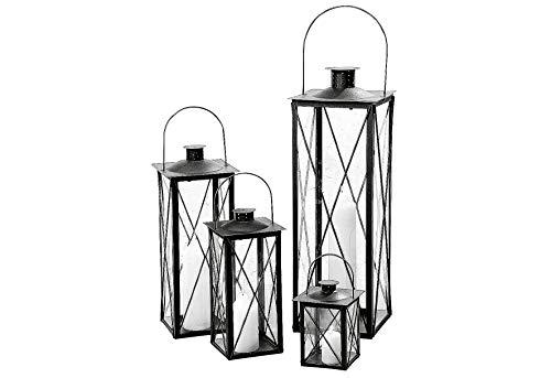 4er-Set Laterne Laternen Standlaterne Metall Glas / Höhe 20-70 cm