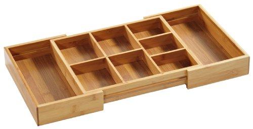 Kesper 70721 Aufbewahrungsbox, aus Bambus, Länge - 30-50 cm, Breite - 35 cm, Höhe - 5 cm