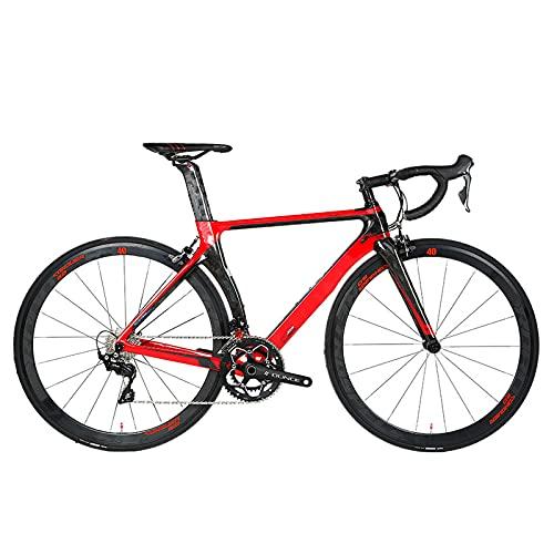 Bicicletas de carretera, 21 velocidades 700C Marco de fibra de carbono ultraligero Bicicleta de carretera para hombres, Frenos de disco doble Bicicletas de carreras, para entusiastas del ciclismo