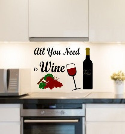 All You Need is Wine Decal Need Is Wine Wine Vino, Vino, Vino, Vino, Vino, Vino, Cocina y Letreros de Vino, Arte de la Pared Descorchar, Desenrollar
