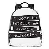 QQIAEJIA Fashien la mochila de poliéster Trabajo para apoyar mi adicción a la lectura Libro Cita Almohada para el piso Todas las estaciones Unisex Gran capacidad Durable Escuela al aire libre diarias