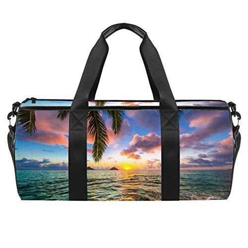 TIZORAX Beautiful Sea Sunrise Gym Duffle Bag Drum tote Fitness Travel Bag Rooftop Rack Bag