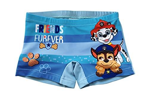 Paw Patrol Pantaloncini da Bagno per Bambino, Costume Mare Boxer Calzoncini da Bagno, Traspirante ad Asciugatura Rapida, Colore Blu a Righe, Taglie 2 Anni