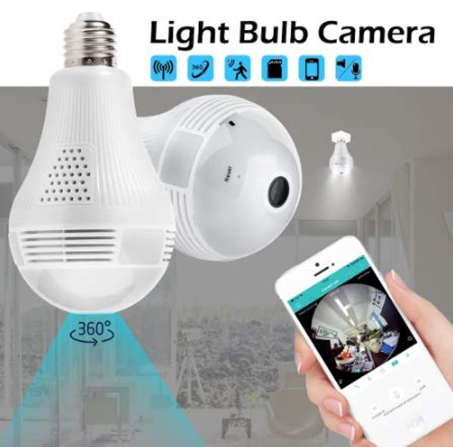 XACB Convenient Installation of WiFi Remote Monitor 360-degree Infrared Night Vision Panoramic Home Network Ultra Clear Double Light Source Security Bulb Camera,128G