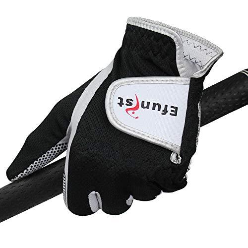 Zhicai Pack 1 st efunist Golf handske män slitna på vänster hand grön svart 3d prestanda nät glidande mikrofiber droppe fartyg Golfhandskar (Color : Worn On Left Hand B, Size : 22 Small)