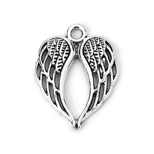 Angel Wings Charms by JGFinds, 48 Pack, Antique Silver Tone 7/8 inch