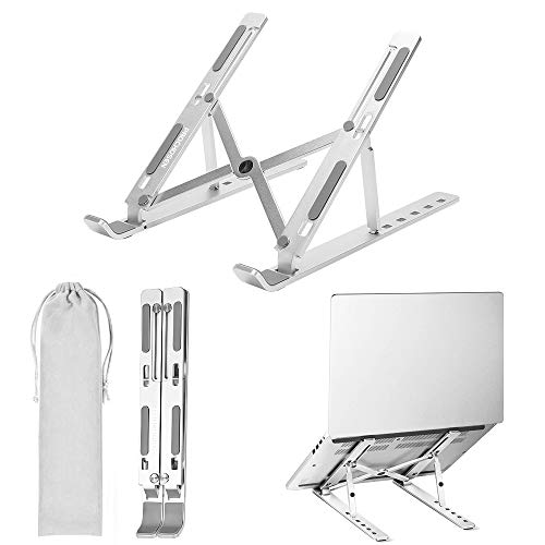 """ProChosen Laptop Stand, 6 Levels of Height Adjustable Laptop Stand Holder Foldable Portable Aluminum Alloy Tablet Stand Compatible with MacBook, ipad, Dell XPS, HP, Lenovo, Most 10-15.6"""" Laptops"""